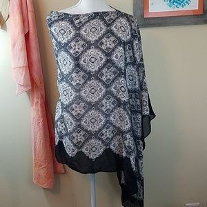 NWT. J. Jill Poncho in gorgeous black print